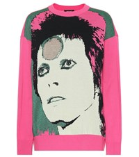 Undercover David Bowie Cotton Blend Sweater Pink