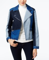 Inc International Concepts Patchwork Denim Moto Jacket Only At Macy's Indigo