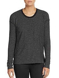 James Perse Striped Dropped Shoulder Tee Black Grey
