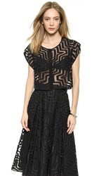 Milly Aztec Fil Coupe Crop Blouse Black