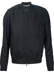 Wings Horns Textured Bomber Jacket Black