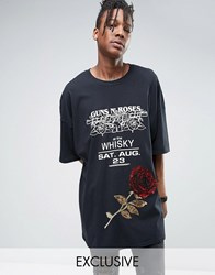 Reclaimed Vintage Super Oversized Band T Shirt With Sequin Rose Patch Black