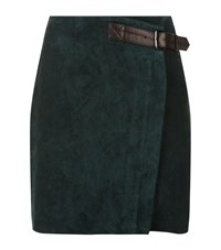 Reiss Chase Suede Mini Wrap Skirt Female Green