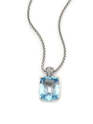 John Hardy Classic Chain Diamond Blue Topaz And Sterling Silver Pendant Necklace