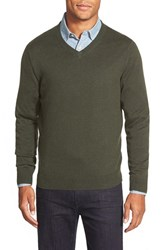 Men's Nordstrom Cotton And Cashmere V Neck Sweater Green Deep Pine
