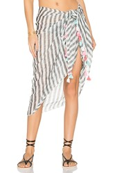 Seafolly Linen Block Stripe Sarong Gray