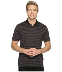 Perry Ellis Heathered Stripe Jersey Polo Shirt Black Men's Clothing