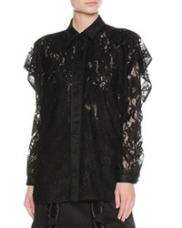 Francesco Scognamiglio Layered Ruffle Lace Shirt Black