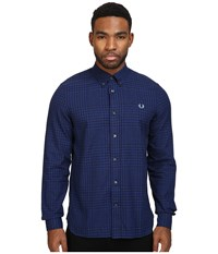 Fred Perry Distorted Gingham Twill Shirt Cobalt Men's Clothing Blue