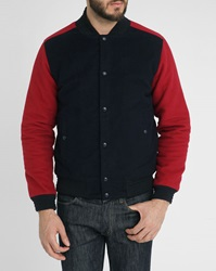 Commune De Paris Navy And Red Quilted Lining Moleskin Press Stud Jacket