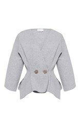 Maison Rabih Kayrouz Textured Wool Blazer Light Grey