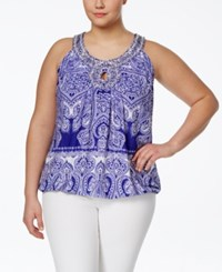 Inc International Concepts Plus Size Printed Embellished Halter Top Only At Macy's Blue Mini Print