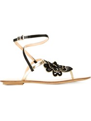 Etro Flower Flat Sandals Metallic