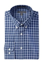 Nordstrom Rack Checkered Trim Fit Dress Shirt Blue