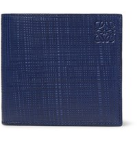 Loewe Embossed Cross Grain Leather Billfold Wallet Navy