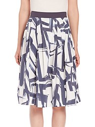 Peserico Pleated Abstract Print Skirt Navy