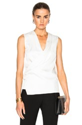 Victoria Beckham Satin Back Crepe Draped Blouse In White