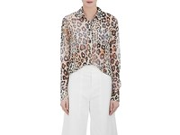 Chloe Women's Leopard Print Cotton Linen Blouse Tan