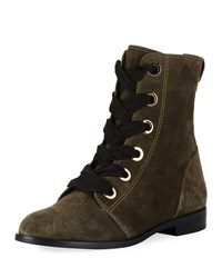 Kate Spade Raquel Suede Lace Up Bootie Olive Green