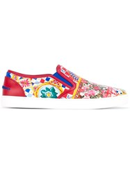 Dolce And Gabbana London Mambo Print Slip On Sneakers White