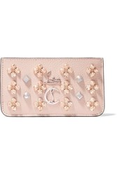 Christian Louboutin Credilou Spiked Textured Leather Wallet Baby Pink