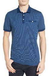 Ted Baker Men's London Otto Jacquard Polo Mid Blue