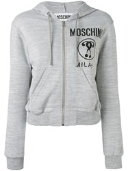Moschino Cropped Logo Hooded Top Women Polyester Viscose 40 Grey