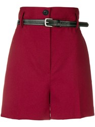 3.1 Phillip Lim High Waisted Shorts Red