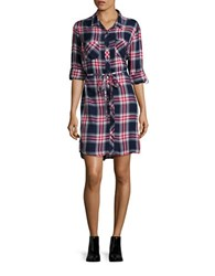 Beach Lunch Lounge Simon Long Sleeve Plaid Shirtdress Navy Red