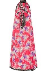 Marc Jacobs Pussy Bow Printed Silk Satin Midi Dress Red
