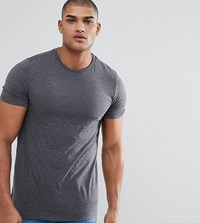 Asos Design Tall T Shirt With Crew Neck In Grey Charcoal Marl