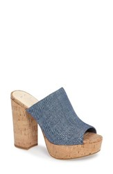 Jessica Simpson Women's Giavanna Open Toe Platform Slide Chambray Blue