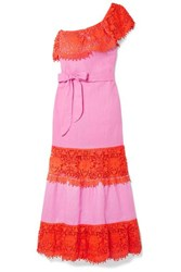 Miguelina Rezina One Shoulder Cotton Guipure Lace Trimmed Linen Maxi Dress Pink