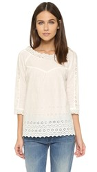 Maison Scotch Vintage Lace Embroidered Blouse White