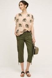 Anthropologie Zipped Cargo Capris Brown