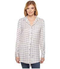 Jag Jeans Magnolia Tunic In Rayon Plaid Ivory Plaid Women's Blouse Bone