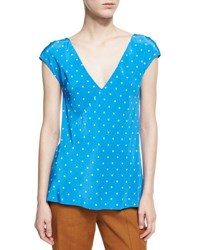 Diane Von Furstenberg Short Sleeve V Neck Silk Blouse Blue Pattern