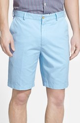 Men's Big And Tall Peter Millar 'Winston' Washed Twill Flat Front Shorts Tar Heel Blue