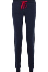 Chinti And Parker Cropped Wool Cashmere Blend Track Pants Navy