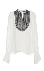 Oscar De La Renta Embroidered Silk Georgette Blouse White