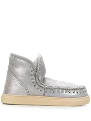 Mou Stitch Detail Ankle Boots Grey