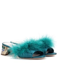 Miu Miu Embellished Satin Sandals Green