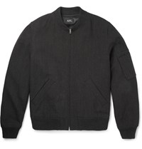 A.P.C. Cotton And Wool Blend Canvas Bomber Jacket Black