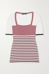 Alexachung Striped Ribbed Silk And Cotton Blend Top Pink