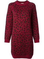 Tak Ori Leopard Print Sweater Dress Red