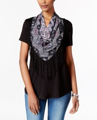 Style And Co Petite T Shirt With Printed Fringe Scarf Only At Macy's Deep Black