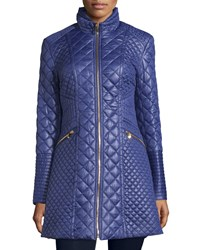 Via Spiga Quilted Long Puffer Coat Navy