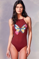 Out From Under Printed High Neck One Piece Swimsuit Rust