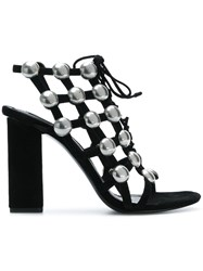 Alexander Wang Hill Sandals Leather Suede Black