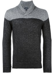 Armani Jeans Two Tone Shawl Collar Jumper Black